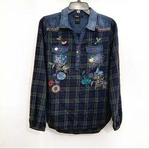 DESIGUAL Bird & Flower Embroidered Plaid Shirt
